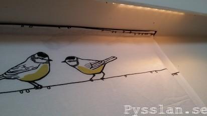 Sommartyg med småfåglar i vardagsrummet istället för tavla pysslan upphängning kardborrband