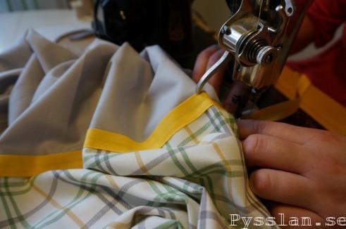 Två Babynest, skotskrutigt gult grönt grått kantband Pysslan blogg