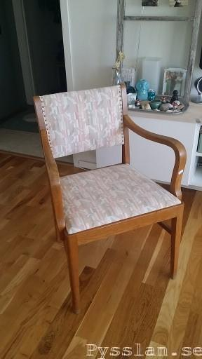 Loppis stol fotölj omklädd fräsch innan pysslan blogg