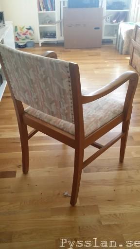 Loppis stol fotölj omklädd fräsch innan bak pysslan blogg