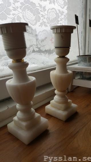 renovera marmor alabaster lampfot loppisfynd slipa skillnad före efter pysslan blogg