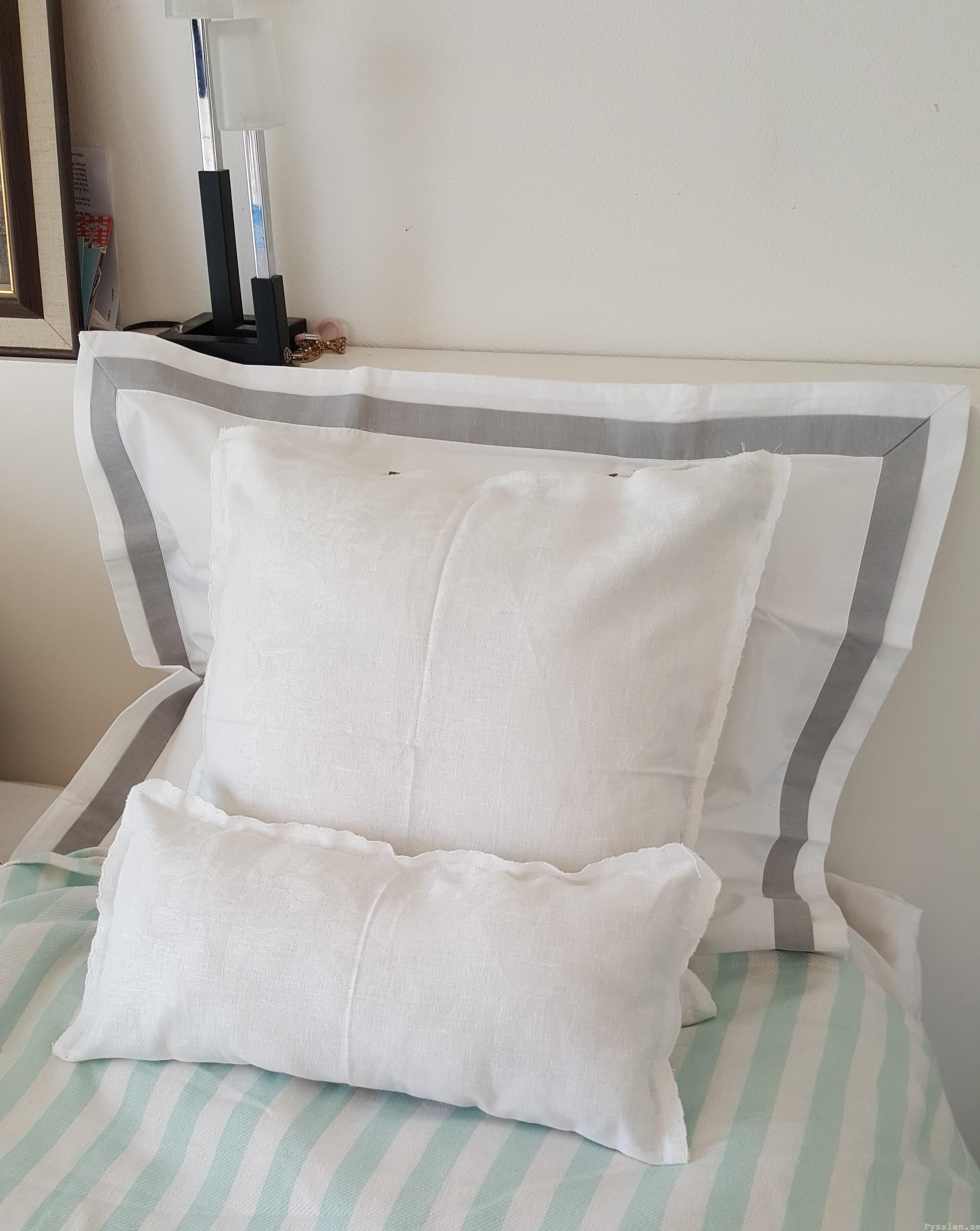 Romantiska kuddfodral av loppisfynd handduk duk pysslan blogg sy efter vitt
