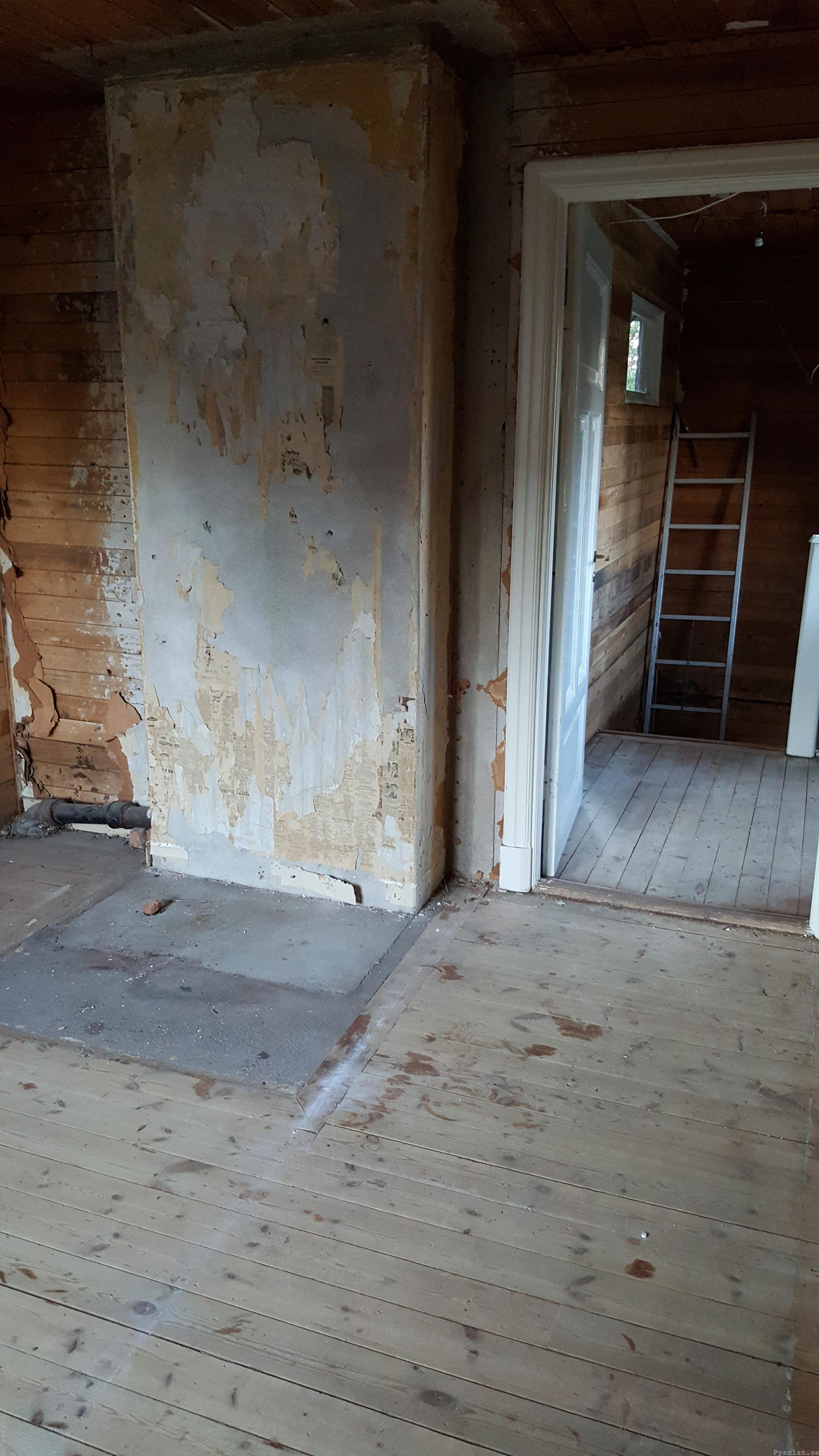 rena plankväggar furugolv stora sovrummet 20-talsdröm 20-talshus renovering pysslan blogg