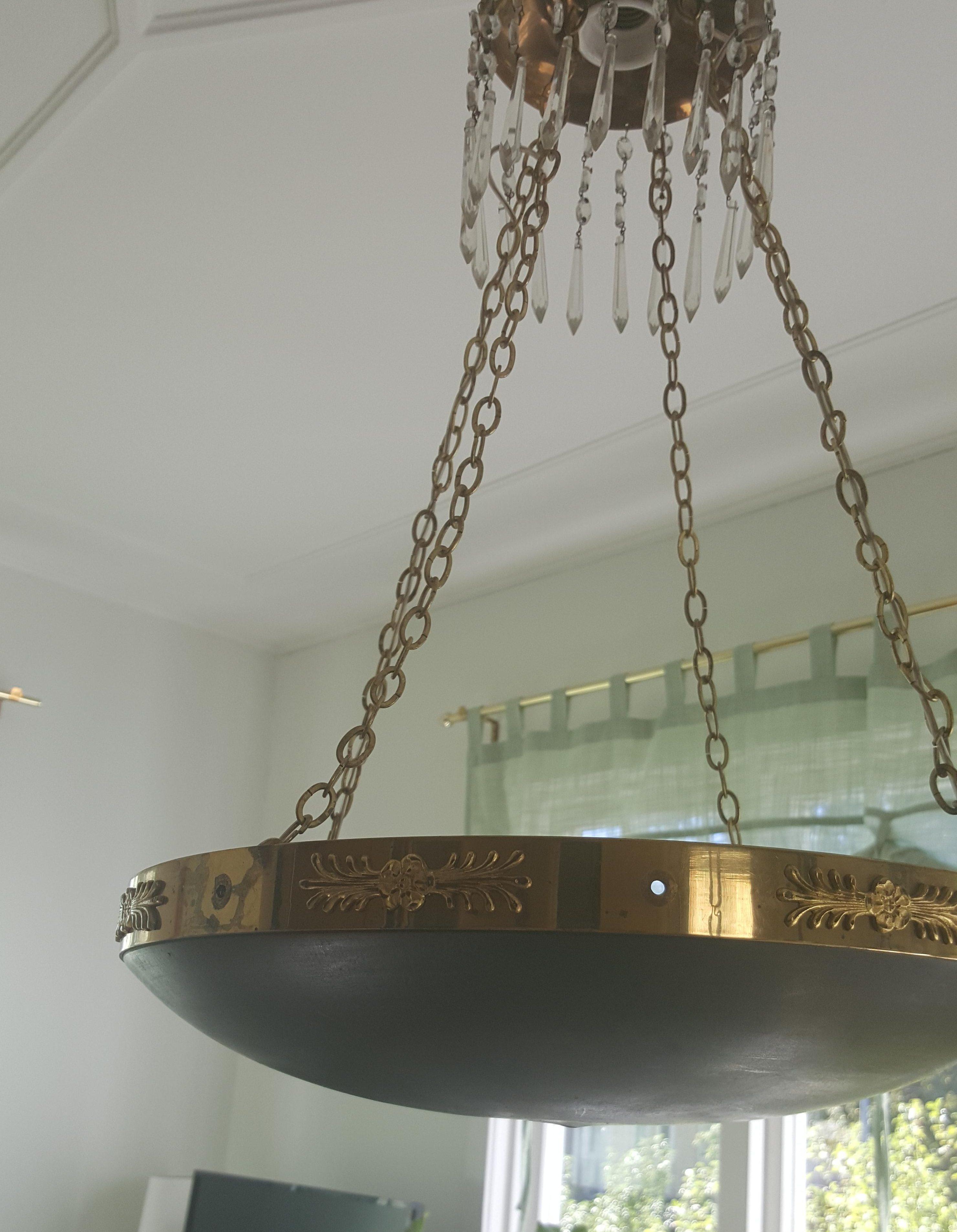 Lamprenovering, fix av en Empire lampkrona svart mässing kristaller pysslan blogg innan